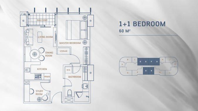 Denah 1 + 1 Bedroom